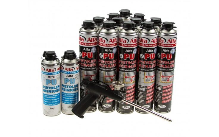 Praktisches PU-Schaum Set bestehend aus 12 Dosen 610 Alfa PU-Pistolenschaum, 2 Dosen 618 Alfa Sprüh- und Pistolenreiniger & der 619 Alfa Schaumpistole.