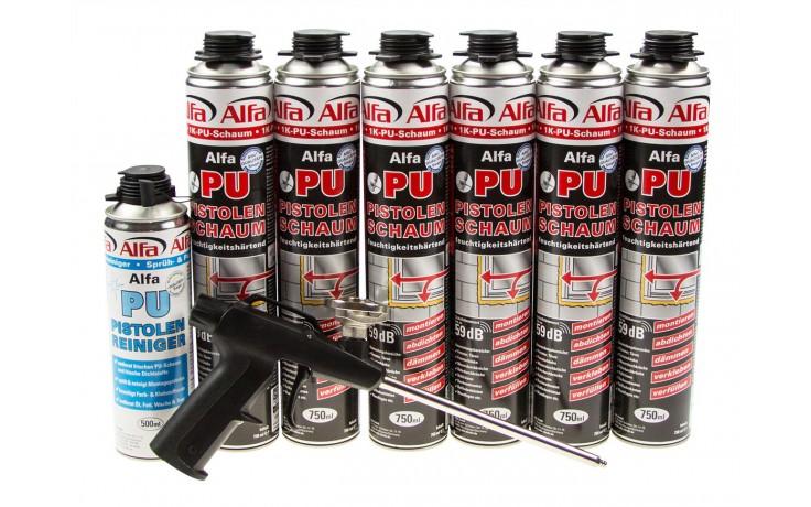 Praktisches PU-Schaum Set bestehend aus 6 Dosen 610 Alfa PU-Pistolenschaum, 1 Dose 618 Alfa Sprüh- und Pistolenreiniger & der 619 Alfa Schaumpistole.