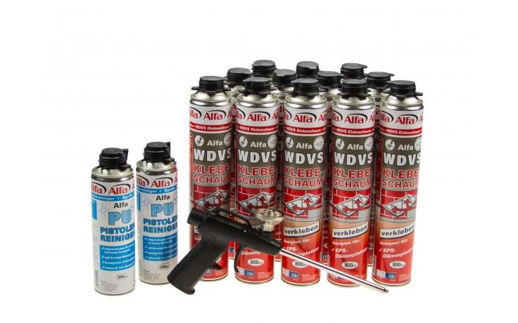 Praktisches WDVS-Klebeschaum Set bestehend aus zwölf Dosen 612 Alfa WDVS-Klebeschaum, zwei Dosen 618 Alfa Sprüh- und Pistolenreiniger und der 619 Alfa Schaumpistole. Kaufen Sie unsere Produkte Set und sparen Sie so Geld!