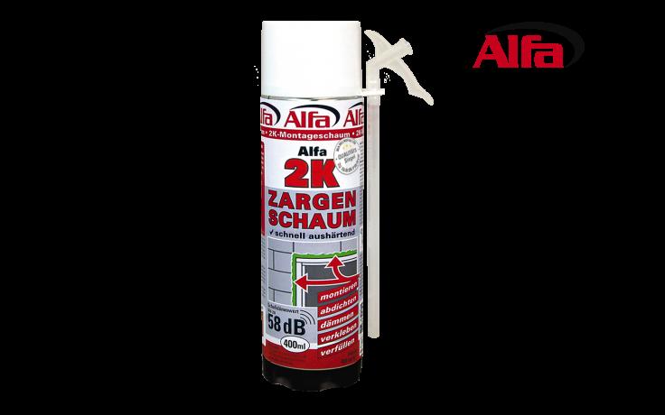 Alfa 2K-Zargenschaum ist ein zwei komponentiger, schnell härtender PU-Schaum mit ausgezeichneten Dämm- und Isolierungseigenschaften